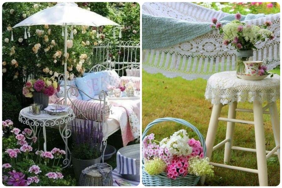 Наскучили прямые и строгие линии? Хочется спокойной и не яркой цветовой гаммы? Предлагаю примеры обустройства уголка сада в винтажном стиле.